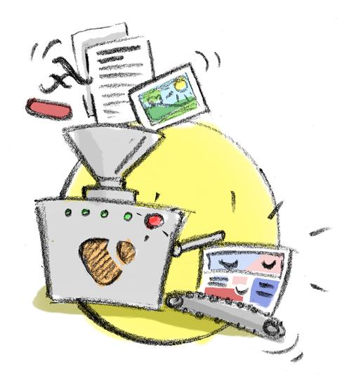 Zeichnung Trichter Maschine produziert eine Website