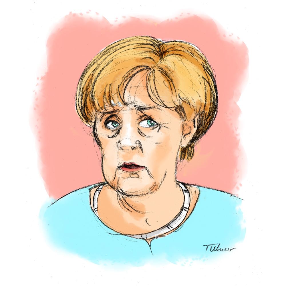 Karikatur von Angela Merkel